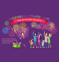 fireworks safety infographic people look at sky vector image