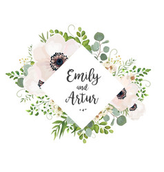 Floral wedding invite card design eucalyptus vector