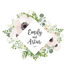 Floral wedding invite card design eucalyptus vector