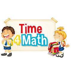 font design for word time 4 math with two happy vector image