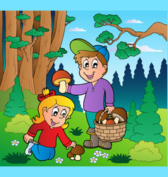 Forest with kids mushrooming vector
