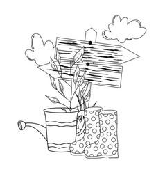 Gardener shower sprinkler with boots vector