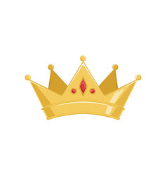 golden ancient crown with red precious stones vector image