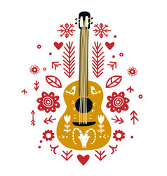 guitar flat hand drawn in ethnic style vector image