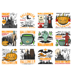 halloween pumpkin ghost witch and vampire icons vector image