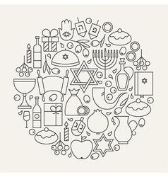 Happy Hanukkah Holiday Line Icons Set Circular vector