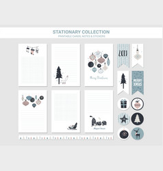Hipster new year and merry christmas stationary vector