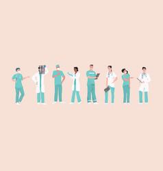 hospital medical staff team doctors nurses vector image