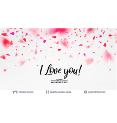 i love you text and hearts confetti on white vector image