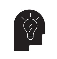idea in head black concept icon idea in vector image