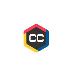 initial letter cc logo template design vector image