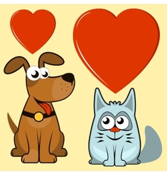 isolated dog and cat lovers vector image