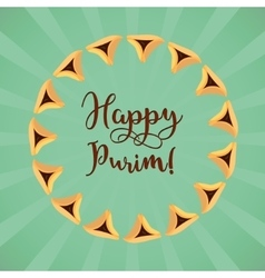 Jewish holiday of Purim greeting card vector image