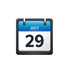 July 29 Calendar icon flat vector