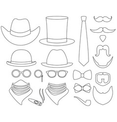 line art black and white hipster 21 element set vector image