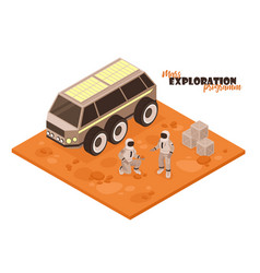 mars rover isometric background vector image