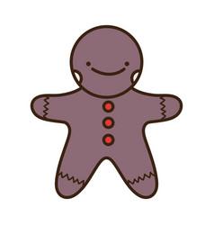 merry christmas celebration gingerbread man vector image