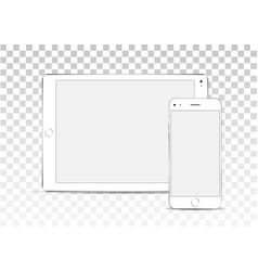 mock up set of blank screens white tablet vector image