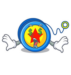 Money eye yoyo mascot cartoon style vector