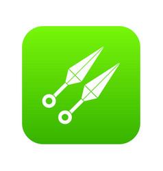 ninja weapon kunai icon digital green vector image