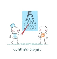 Ophthalmologist checks sight of the patient with vector