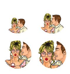 pop art social network user avatars man vector image