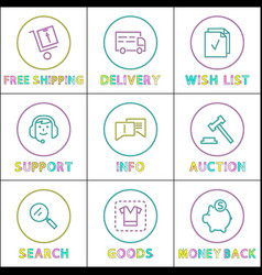 purchases delivety terms icon set in linear style vector image