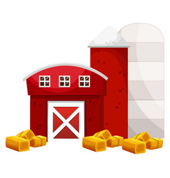 red barn and two silo in the farm vector image