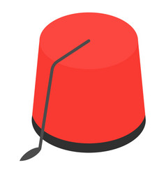 red turkish hat icon isometric style vector image