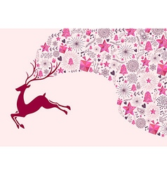 Reindeer christmas greeting card background gift vector image