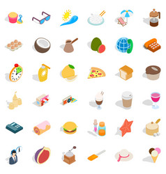 Rest in beach icons set isometric style vector