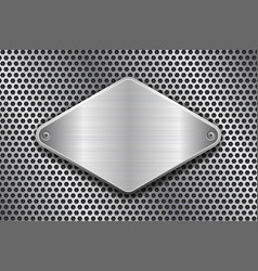 Rhombus brushed metal plate on perforated texture vector