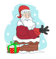 Santa on a chimney with a present waving vector