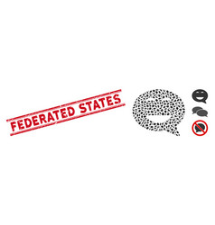 Scratched federated states line stamp with mosaic vector