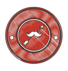 Seal stamp with mustache icon vector