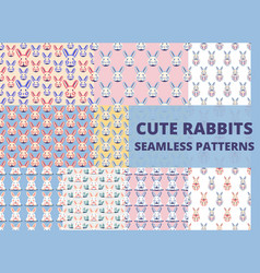 Seamless pattern with cute rabbits and bunnies vector