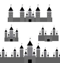 set black castle on white background vector image