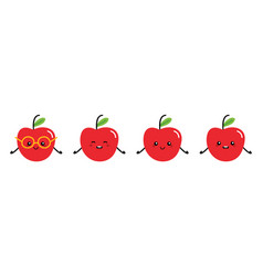 set collection apple cartoon characters vector image