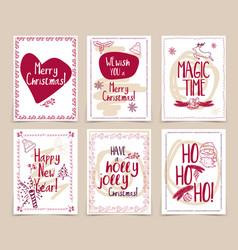 Set creative holidays journaling cards merry vector