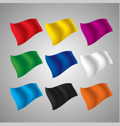 set flying flags different colors vector image