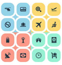 Set of simple plane icons vector