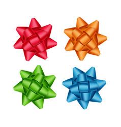 set red orange green blue gift ribbon bows vector image
