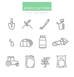 Set with Agriculture thin line icons vector image