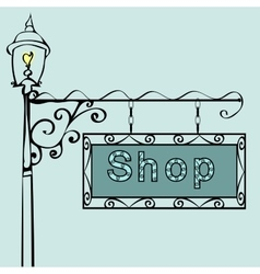 Shop text on vintage street sign vector