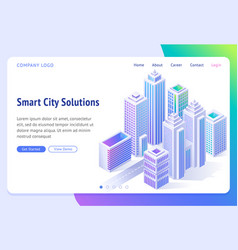 smart city solutions banner with isometric town vector image