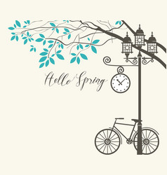 Spring landscape with bike tree and lamppost vector