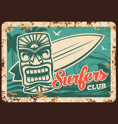 Surfing surfer club metal plate rusty surfboard vector