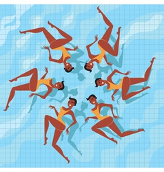 synchronized swimmers vector image