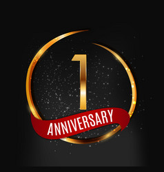 Template gold logo 1 years anniversary with red vector