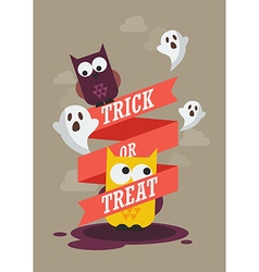 Trick or Treat with owls Halloween poster vector